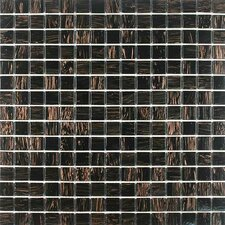 "Gold Leaf 0.75"" x 0.75"" Glass Mosaic Tile in Black Gold"