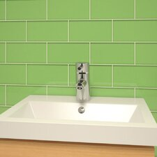 """3"""" x 6"""" Glass Subway Tile in Powder Room Green"""