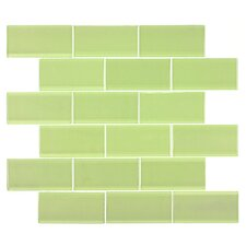 "2"" x 4"" Glass Subway Tile in Light Olive"