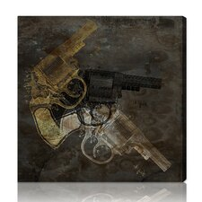 "Hatcher & Ethan """"Gold Revolver"""" Graphic Art on Canvas"