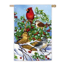 Basket of Holly with Birds Vertical Flag