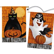 Halloween Night Ghost and Black Cat 2-Sided Vertical Flag