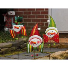 Holly Jolly 3 Piece Bow Tie Snowman Garden Stake Christmas Decoration Set (Set of 3)