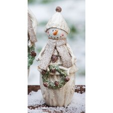 Hoiliday Frosty Snowman with Wreath Statuary