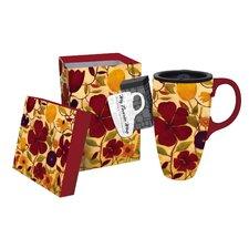 17 oz. Floral Spice Boxed Ceramic Latte Travel Cup