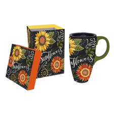 17 oz. Blackboard Bouquet Ceramic Latte Travel Cup with Gift Box
