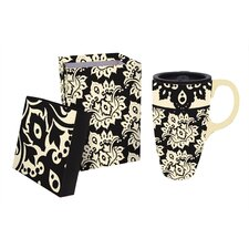 Extracts 17 oz. Plume Ceramic Latte Travel Cup with Gift Box