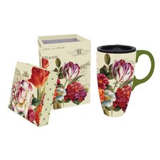 Garden View 17oz. Ceramic Latte Travel Cup with Gift Box