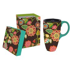 17 oz. Floral Ceramic Travel Cup with Lid