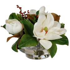 Magnolias and Red Berries in Glass Bowl