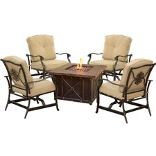 Summer Night Fire Pit 5 Piece Rocker Seating Group with Cushion
