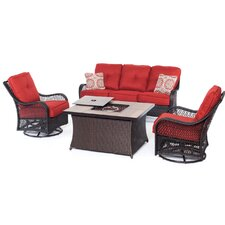 Orleans Woven 4 Piece Deep Seating Group with Cushion