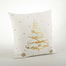 Holiday Embroidered and Foil Print Cotton Throw Pillow
