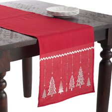 Christmas Tree Design Embroidered Table Runner