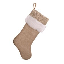 Faux Fur and Beaded Jute Stocking