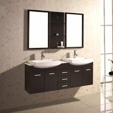 "60"" Double Floating Bathroom Vanity Set with Mirror & Shelves"