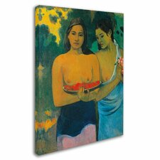 'Two Tahitian Women 1899' by Paul Gauguin Painting Print on Canvas