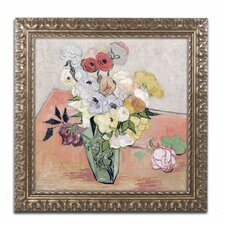 'Roses and Anemones' by Vincent Van Gogh Framed Painting Print