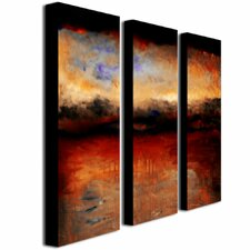 """""""Red Skies at Night"""" by Michelle Calkins Painting Print 3 Panel Art Set"""