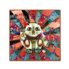 """Red Lucky Cat Pattern"" by Miguel Paredes Graphic Art on Wrapped Canvas"