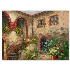 'Tuscany Courtyard' by Rio Painting Print on Canvas