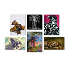 Animal Kingdom Wall 6 Piece Graphic Art on Wrapped Canvas Set