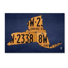"""""""New York License Plate Map"""" by Design Turnpike Graphic Art on Wrapped Canvas"""