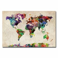 """Urban Watercolor World Map"" by Michael Tompsett Graphic Print on Canvas"