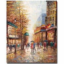 """""""French Street Scene"""" by Michelle Moate Painting Print on Wrapped Canvas"""