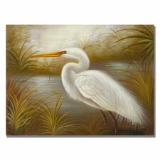 'White Heron' by Rio Painting Print on Canvas