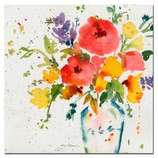 'White Vase with Bright Flowers' by Sheila Golden Painting Print on Wrapped Canvas