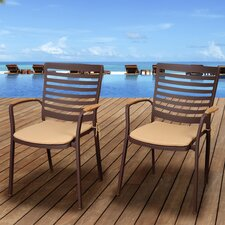 Amazonia San Agustin Stacking Dining Arm Chair with Cushion (Set of 4)