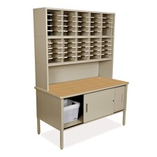 Mailroom 50 Adjustable Slot Literature Organizer with Riser and Cabinet