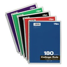 """10.5"""" x 8"""" 5 Subject College Ruling Wirebound Notebook (Set of 24)"""