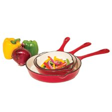3 Piece Porcelain Enameled Skillet Set