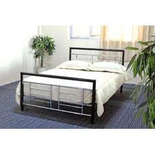 Metal Panel Bed in Black & Silver