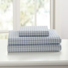 Gingham Printed Cotton Sheet Set