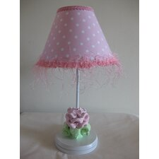 "Baby Pink Flower 16"" H Table Lamp with Empire Shade"