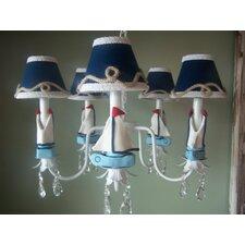 Nautical Sailboats 3 Light Chandelier