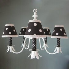 Chocolate and Natural Dottie 5 Light Chandelier