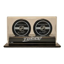 """NHL 4.25"""" Double Hockey Puck Display Case"""