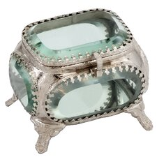 Joya Square Metal/Glass Jewelry Box