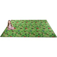 Buzzy Bugs Green Area Rug
