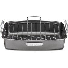 "17"" Aluminized Steel Non-Stick Roaster with V-Rack"