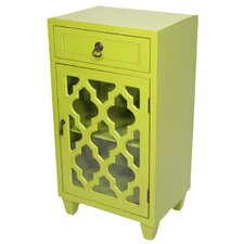 1 Drawer and 1 Door Cabinet with Glass Insert