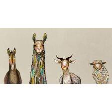 "''Donkey, Llama, Goat, Sheep on Cream"" by Eli Halpin Painting Print on Canvas"