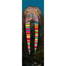 """Designer Walrus"" by Eli Halpin Graphic Art on Canvas in Blue"