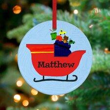 Santa's Sleigh Personalized Ornament by Jill McDonald