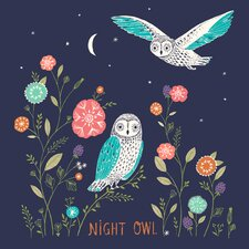 """Night Owl"" by Bethan Janine Graphic Art on Canvas"