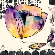"""Curved Poppy"" by Sara Franklin Graphic Art on Canvas"